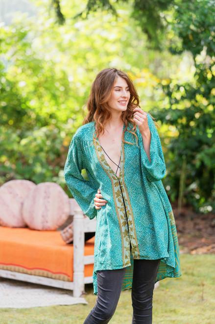 BRENNA Kimono Bohemian Silk Duster in Mysore Gardens (onesize)
