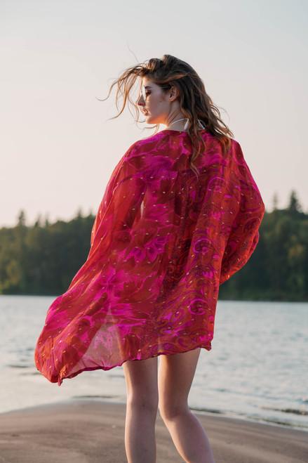 UDAYA Loose Drape Bohemian Chignon Silk Robe in Brilliant Fuscia