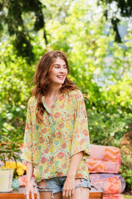 TALYNN Mandarin Collar Silk Boho Chic Blouse in Summer Meadow (M/L)