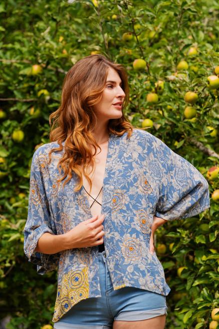 ASHKA Vibrant Bohemian Silk Kimono Shrug in Elysium Rose