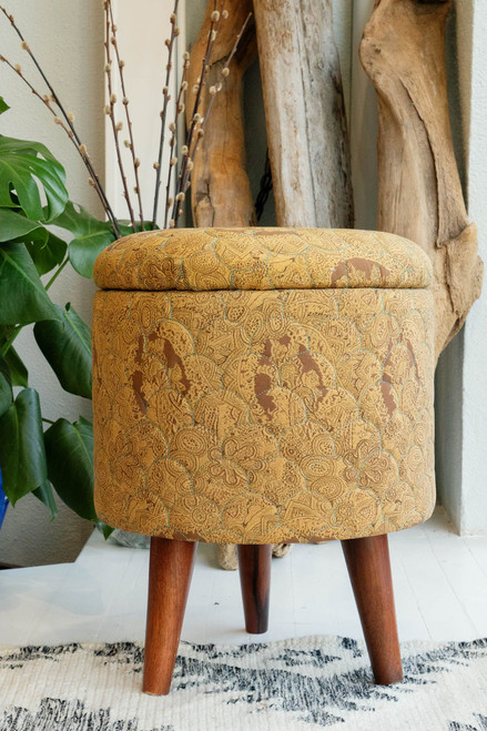 ADA One of a Kind Quilted Upcycled Silk Bohemian Wood Box Stool in Hazel Wood
