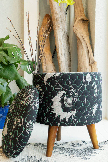 ADA One of a Kind Quilted Upcycled Silk Bohemian Wood Box Stool in Nightingale