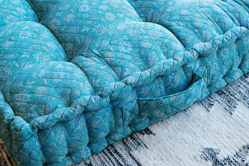 Double LARK Bohemian Unique Quilted Silk Box Mattress Cushion in French Blue