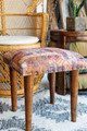 Ellan Bohemian Quilted Silk Wooden Leg Square Stool in Mauve Collage