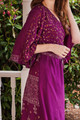 MYRA Bell Sleeve Silk Wrap Kimono Dress in Passionfruit