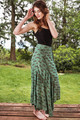 FLAMENCO Ruffle Trim Silk Dancing Skirt in Mystic Waters (Sm/ Md)
