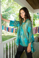 ELANOR Printed Chignon Tie Neck Flowy Blouse in Teal Leaf