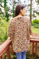MABEL Oversize V-neck Bohemian Silk Tunic (One Size) in Harvest
