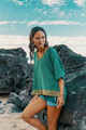 MABEL Oversize Bohemian Silk Tunic Blouse in Teal Fern