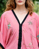 VEGA V-Neck Embroidered  Silk Tunic Top in Rose Quartz (Onesize)