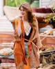 KIMONO Luxurious Printed Silk  Boho Robe in Royal Tangerine (onesize)