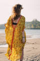 KRYSTA Kaftan Boho Maxi Boho Silk Beach Cover up in Marigold Sunset (onesize)