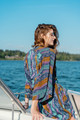 FLANNERY Bohemian Crepe Silk Kimono with Pockets in Wavy Rainbow