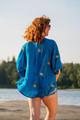 ASHKA Crepe Silk Kimono Shrug in Diamond Lake