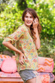 TALYNN Mandarin Collar Silk Boho Chic Blouse in Summer Meadow (S/M)