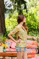 TALYNN Mandarin Collar Silk Boho Chic Blouse in Summer Meadow (M/L)