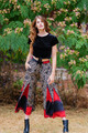 MARLEE Bohemian Silk Flare Pants (s/m) in Latin Lover