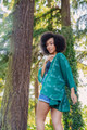 ASHKA Sequin Boho Silk Crop Kimono Shrug in Emerald Isle (One Size)