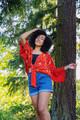 RONAK Vintage Bohemian Silk Shawl Wrap in Oriental Red (One Size)