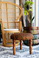 IVA Three Legged Quilted Silk Bohemian Button Stool in Calico Garden