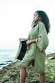 DOUBLE FLANNERY Bohemian Silk Kimono in Spring Sage
