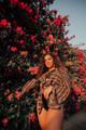 RONAK Upcycled Silk Shawl Shrug Cover Up in Dusky Totem (One Size)