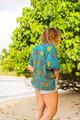 MABEL Oversize Bohemian Silk Tunic Blouse in Stellar Fountain (One Size)