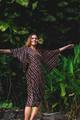 MYRA Bell Sleeve Silk Wrap Kimono Dress in Venetian Totem  (One Size)