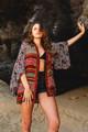 ONO Cropped Gypsy Silk Kimono Wrap Top in Stripes n Swirls