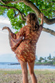 BUTTERFLY Bell Sleeve Wrap Tunic in Terracotta Paisley (One Size)