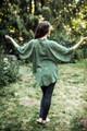 ASHKA Lovely Boho Silk Crop Kimono Shrug in Honeydew Melon (One Size)