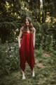 DIVA Double Layer Chignon Silk Romper Onesie Playsuit  in Flame