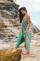 DIVA Bohemian Crepe Silk Romper Onesie Playsuit with pockets  in Hawaiian Teal