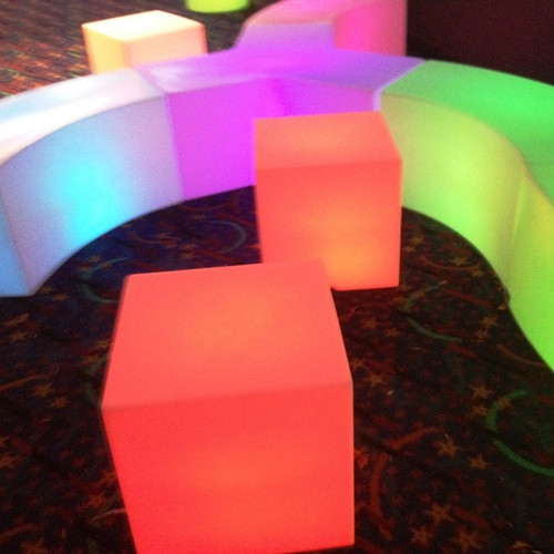 Illuminated Cubes work well as seats and look great combined with the glow curved seating