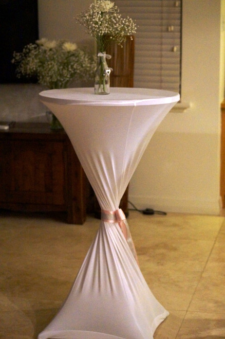 Cocktail Bar with White Lycra Cover (Ribbon and Vase not included)