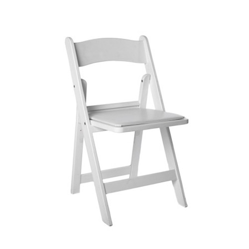 Light weight fold-able white chair commonly called an Americana.
