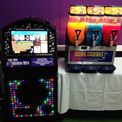 10,000 Song Touch Screen Digital Jukebox and 3 Bowl Slushy Machine Hire delivered to all suburbs in Perth