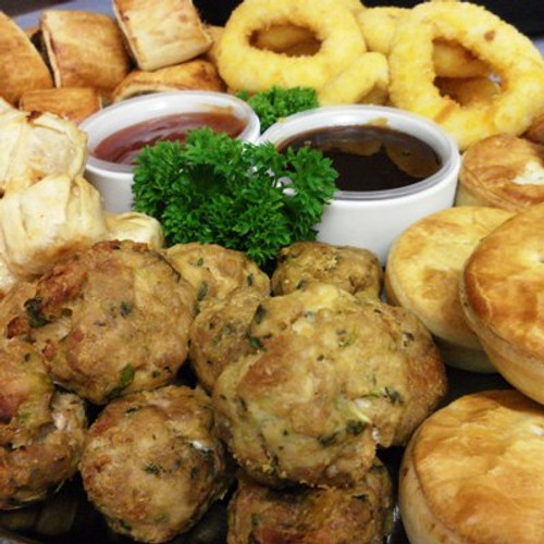 Party Pies, Sausage Rolls and a few other party favourite make up this flavoursome platter