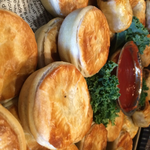 Freshly Baked, not Frozen Party Pies & Sausage Rolls served with Tomato Sauce of-course.