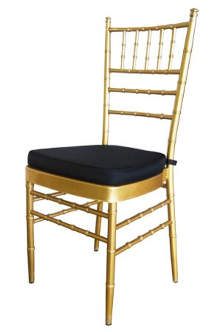 With the black cushion these Gold Tiffany Chairs look perfect for your 1920's Gatsby Party or Wedding