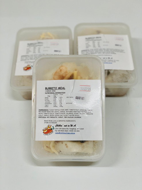Chef prepared Burrito made fresh and frozen fast to seal in the flavour.