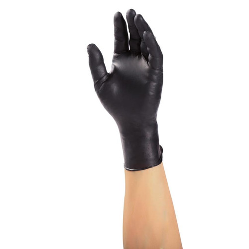 Suitable for mechanical and industrial use, these Black Nitrile Gloves offer high puncture restistance.