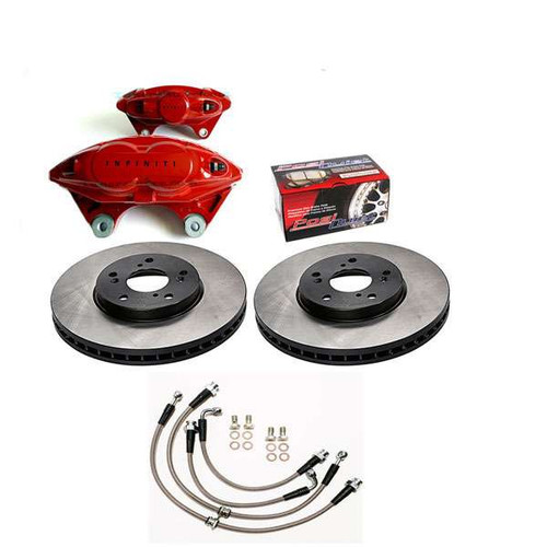 "INFINITI OEM AKEBONO Front and Rear 14"" Big Brake Kit, 2017 Q60 Coupe Red/Silver Sport Q60 Brakes"