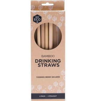 Bamboo straws with brush (4 pack)