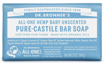 Unscented Baby Dr Bronner's Pure Castile Bar Soap