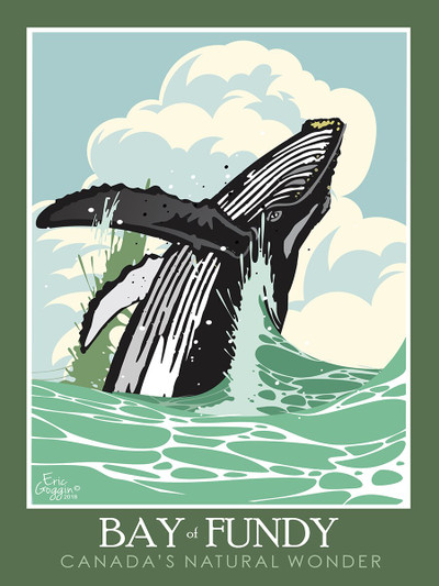 "Bay of Fundy Whales - 10-Pack of  4""x 6"" Art Cards"