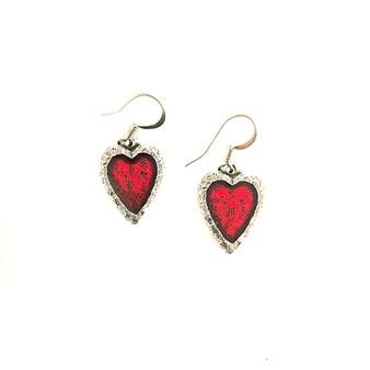 Heart Crimson Pewter Earrings