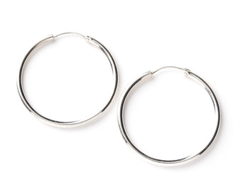 Pipe Hoops Sterling Silver Earrings