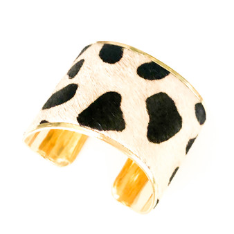Cheetah Print Bracelet Cuff Black