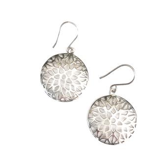 Open Flower Sterling Silver Earrings